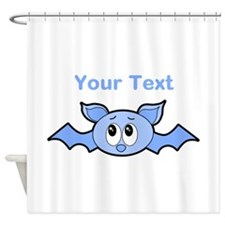 Blue Bat with Custom Text. Shower Curtain
