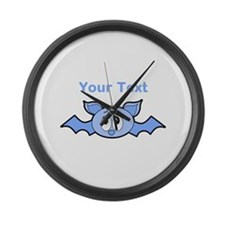 Blue Bat with Custom Text. Large Wall Clock