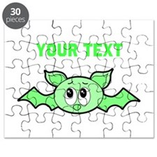 Green Bat with Custom Text. Puzzle
