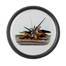 TOP I Love Horse Racing Large Wall Clock