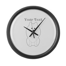 Cute Dog with Text. Spitz. Large Wall Clock
