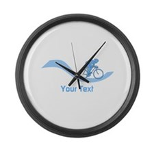 Cyclist in Blue. Custom Text. Large Wall Clock