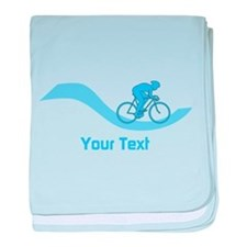 Cyclist in Blue. Custom Text. baby blanket