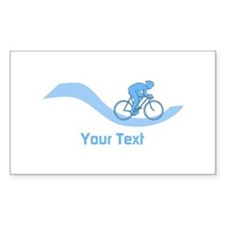 Cyclist in Blue. Custom Text. Decal