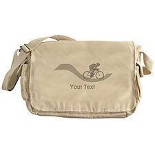 Cyclist in Gray. Custom Text. Messenger Bag