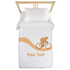 Cyclist in Orange. Custom Text. Twin Duvet