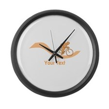 Cyclist in Orange. Custom Text. Large Wall Clock