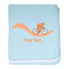 Cyclist in Orange. Custom Text. baby blanket