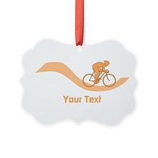 Cyclist in Orange. Custom Text. Ornament
