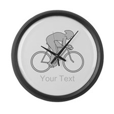 Gray Cycling Design and Text. Large Wall Clock