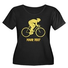 Yellow Cycling Design and Text. Plus Size T-Shirt