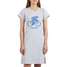 Blue Cycling Design and Text. Women's Nightshirt