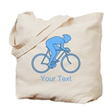 Blue Cycling Design and Text. Tote Bag