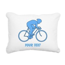 Blue Cycling Design and Text. Rectangular Canvas P