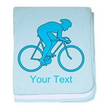 Blue Cycling Design and Text. baby blanket