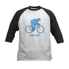 Blue Cycling Design and Text. Baseball Jersey
