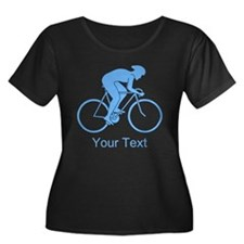 Blue Cycling Design and Text. Plus Size T-Shirt