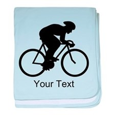 Cyclist Silhouette with Text. baby blanket