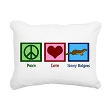 Peace Love Honey Badgers Rectangular Canvas Pillow