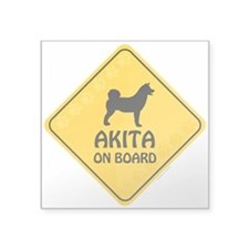 """Akita On Board Square Sticker 3"""" x 3"""""""