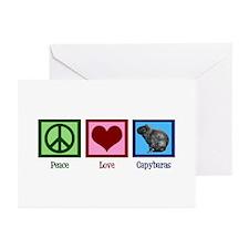 Peace Love Capybaras Greeting Cards (Pk of 20)