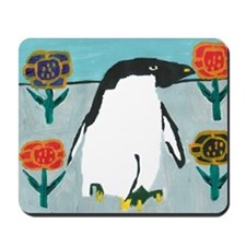 Penguin Flowers Mousepad