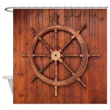 Wooden Marine Ship Wheel Shower Curtain