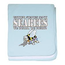 USN Navy Seabees Bee baby blanket