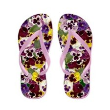 Lovely Pansies Flip Flops
