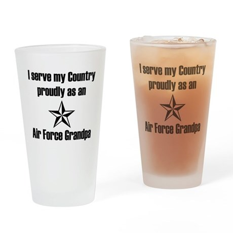Air Force Grandpa Proudly Serving Drinking Glass