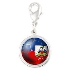 Haiti Soccer Ball Silver Round Charm
