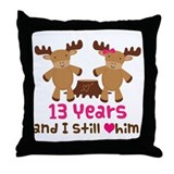13th Anniversary Moose Throw Pillow