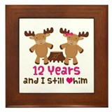 12th Anniversary Moose Framed Tile