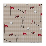 Hole in One Golf Equipment on Tan Argyle Tile Coas