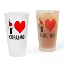 I Love Curling Drinking Glass