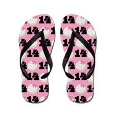 Volleyball Player Number 14 Flip Flops