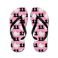 Volleyball Player Number 11 Flip Flops