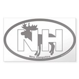 New Hampshire NH Euro Oval Sticker with Moose Stic