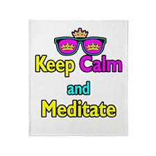Crown Sunglasses Keep Calm And Meditate Throw Blan