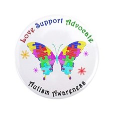 "Autism Butterfly 3.5"" Button"