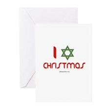 I love Christmas (star of david) Greeting Cards (P