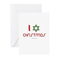 I love Christmas (star of david) Greeting Cards (P