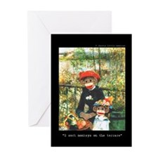 2 Sock Monkeys Greeting Cards (Pk of 10)