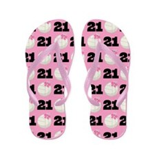 Volleyball Player Number 21 Flip Flops