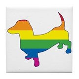 Gay Pride Dachshund Tile Coaster
