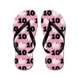 Volleyball Player Number 10 Flip Flops