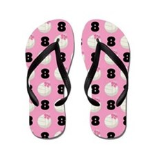 Volleyball Player Number 8 Flip Flops