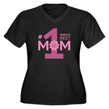 Nr 1 Mom Women's Plus Size V-Neck Dark T-Shirt