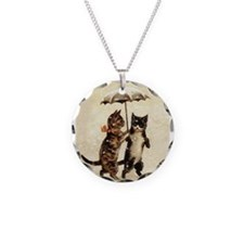 Cats, Vintage Painting Necklace