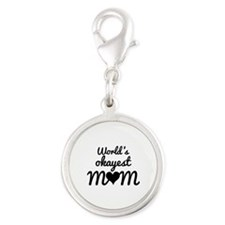 World's Okayest Mom Silver Round Charm